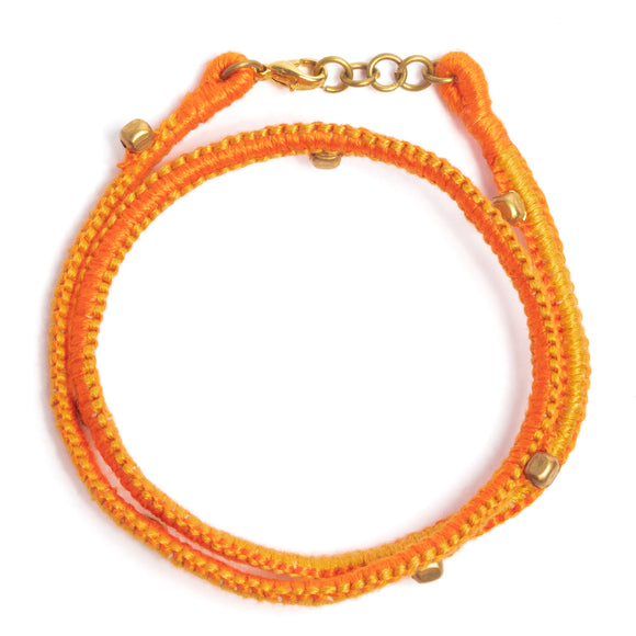 Orange and Yellow Thread Adjustable Bracelet TB07