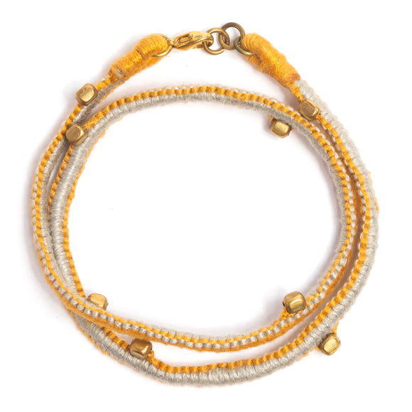 Ash and Yellow Thread Adjustable Bracelet TB08