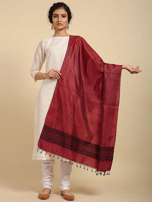 Deep Red Pure Silk Hand woven Dupatta