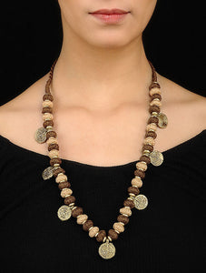 Brown Beige Gold Tone Necklace TR03