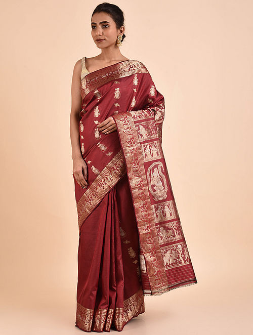 Maroon Handwoven Silk Baluchari Saree BS19-01