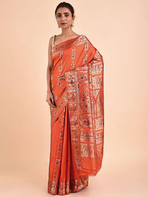 Orange Handwoven Silk Baluchari Saree BS19-09