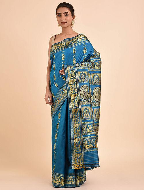 Blue Handwoven Silk Baluchari Saree BS19-12