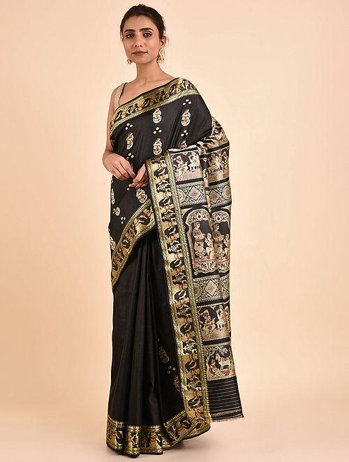 Black Handwoven Silk Baluchari Saree BS19-18