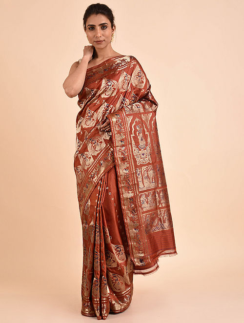 Brown Handwoven Silk Baluchari Saree BS19-19