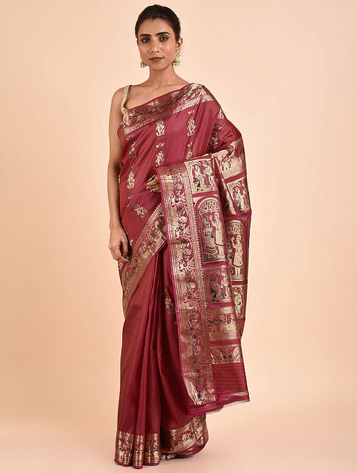Maroon Handwoven Silk Baluchari Saree BSA2002-16
