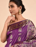 Purple Handwoven Silk Baluchari Saree BSA2002-17