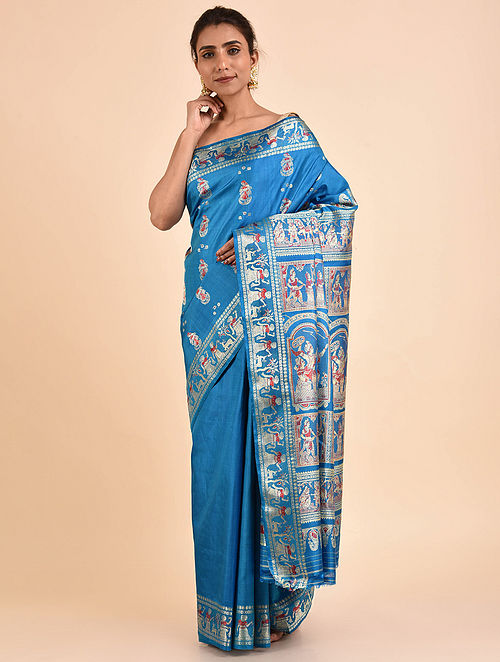 Blue Handwoven Silk Baluchari Saree BSA2002-21