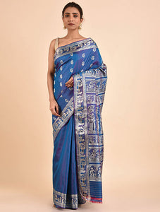 Blue Handwoven Silk Baluchari Saree BSA2002-23