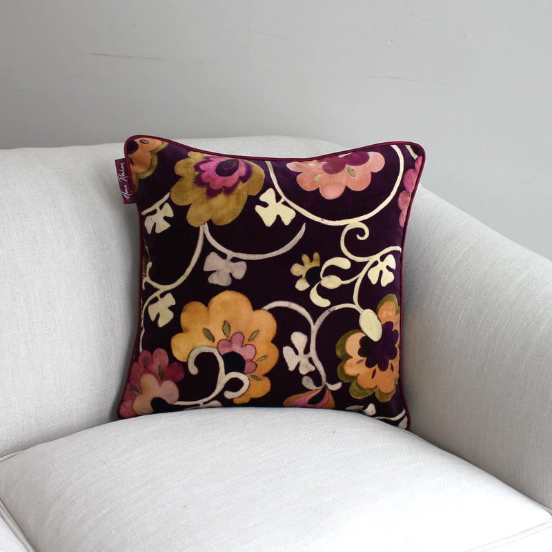 Bukhara Chocolate Velvet Cushion