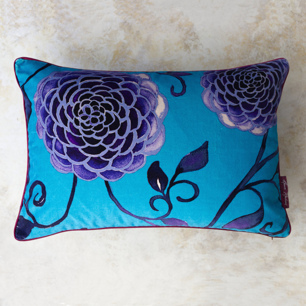 Sky Blue Dahlia Pillow