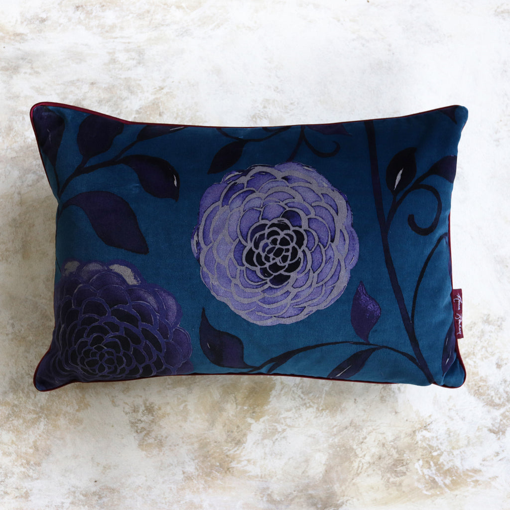Dahlia Teal Velvet Cushion
