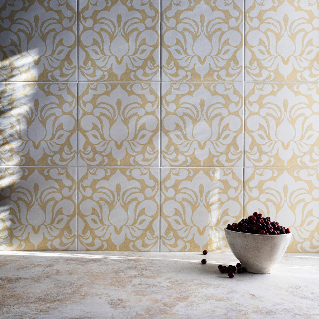 Damask Saffron Tile