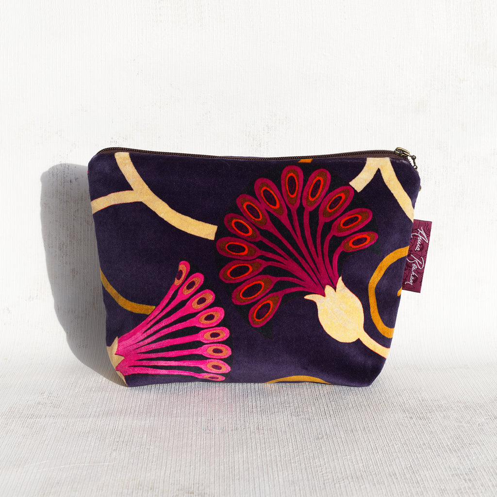 Egyptflower Midnight Velvet Bag