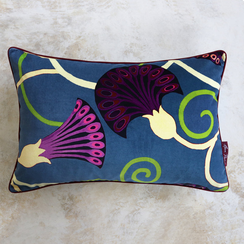 Egyptflower Cerulean Velvet Cushion