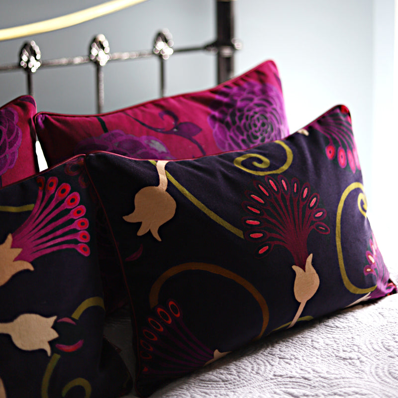 Egyptflower Midnight Velvet Cushion