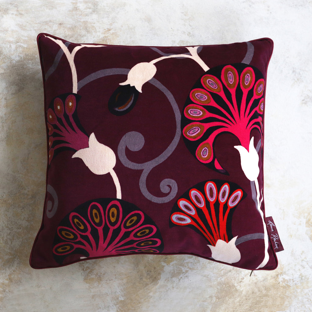 Egyptflower Ruby Velvet Cushion