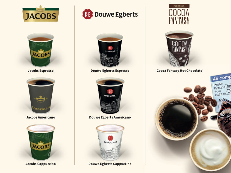 Jacobs and Douwe Egberts coffees and cocoas