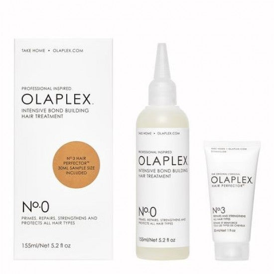 OLAPLEX NO.0 INTENSIVE BOND BUILDING HAIR TREATMENT KIT (NO. 0 155ML, NO. 3 30ML)