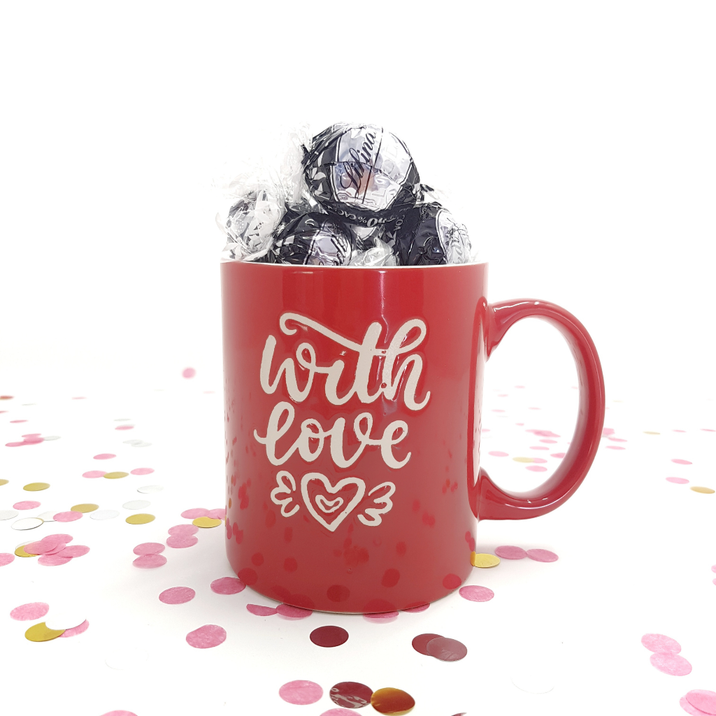 Red Cup with Dark Chocolate Lindor - Gift with Love