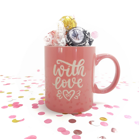 Pink Cup with Assorted Chocolate Lindor - Gift with Love
