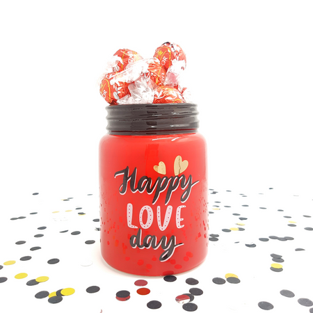 Red Jar with Milk Chocolate Lindor - Gift with Love