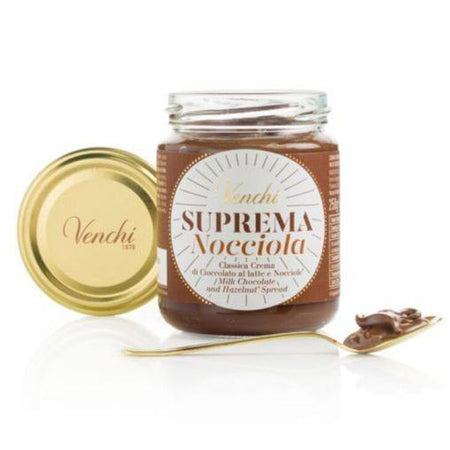 Suprema Hazelnut Chocolate Spreadable Cream - 250g jar VENCHI - caramellina.com