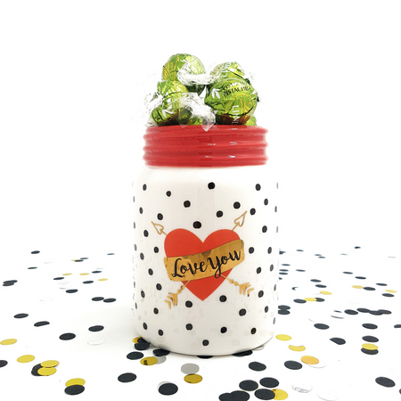 White Jar with Pistachio Lindor - Gift with Love