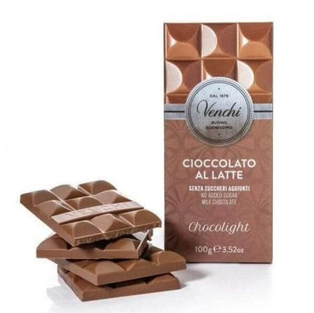 Chocolight - Milk Chocolate - No Added Sugar - 100g bar VENCHI