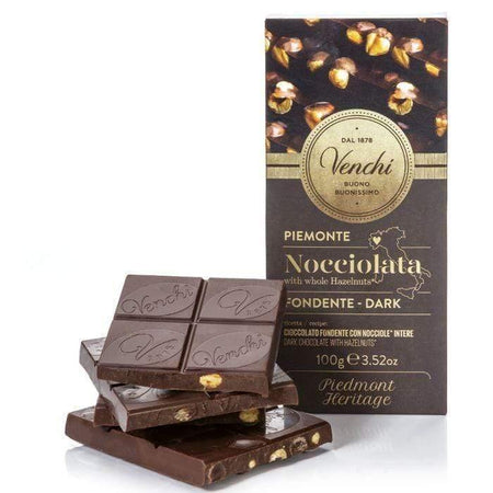 VENCHI chocolate Nocciolata Dark Chocolate with Hazelnuts - 100g bar VENCHI