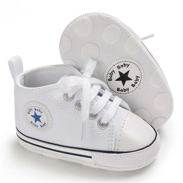 First Walkers Crib Shoe White Canvas - Les Meridien