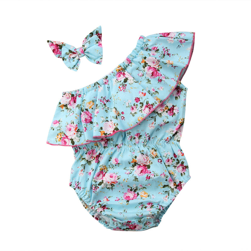 Baby Girl Off Shoulder Romper & Headband - Les Meridien
