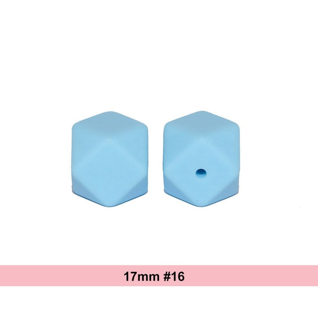 10pcs/lot 17mm Hexagon Shaped Silicone Beads Teething Baby Teether - Les Meridien