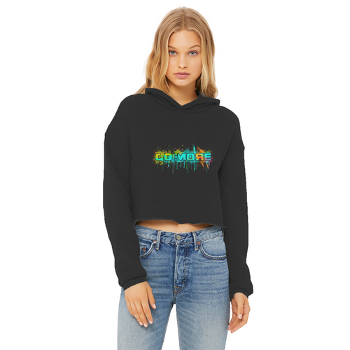 Go for More Ladies Cropped Raw Edge Hoodie