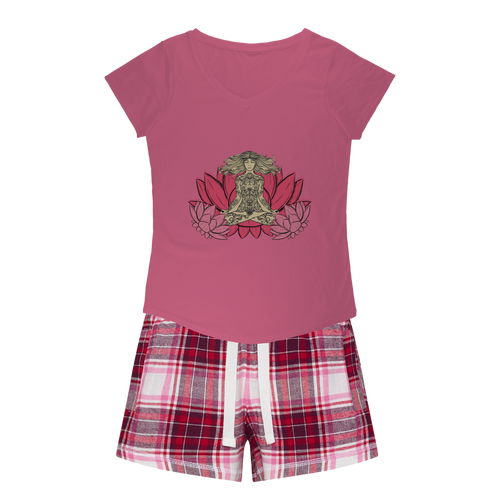 - Yoga Stile - Girls Sleepy Tee and Flannel Short