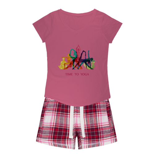 Time to Yoga Girls Sleepy Tee and Flannel Short