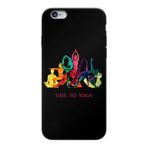 Time to Yoga Back Printed Black Soft Phone Case