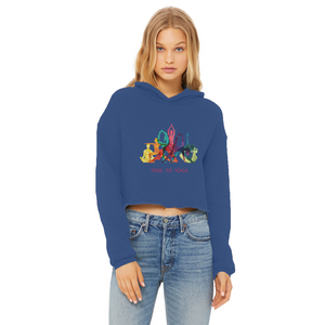Time to Yoga Ladies Cropped Raw Edge Hoodie