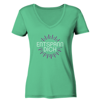 Laden Sie das Bild in den Galerie-Viewer, - Entspann Dich -  - Ladies Organic V-Neck Shirt