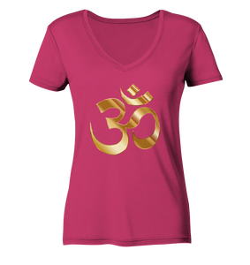 - Gold Om -  - Ladies Organic V-Neck Shirt