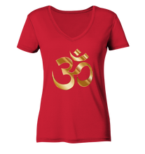 Laden Sie das Bild in den Galerie-Viewer, - Gold Om -  - Ladies Organic V-Neck Shirt