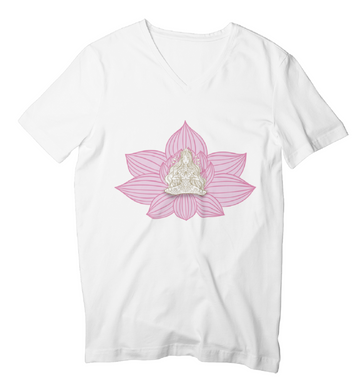 - Yoga Stile Flower -  - Ladies V-Neck Shirt