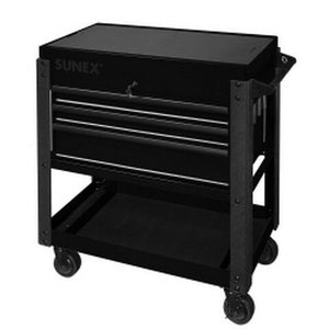 3 Drawer Utility Cart with Sliding Top Black SUN8035XTBK