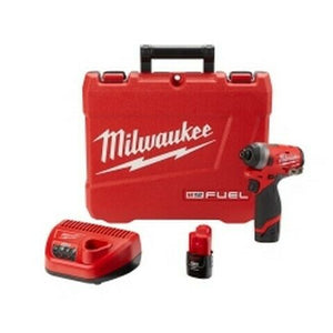 Milwaukee M12 FUEL 1/4 in Hex Impact Driver w/ 2 Batteries Kit MLW2553-22