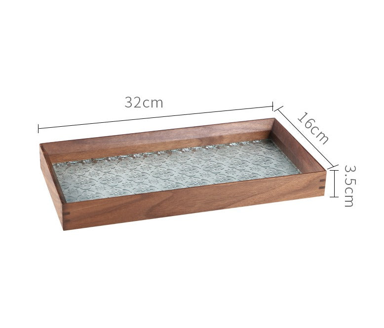 Ally Walnut Embossed Glass Serving Tray - Timeless Design