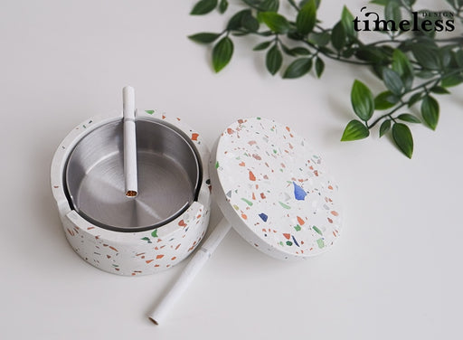 Caylin Terrazzo Ashtray With Cover and Stainless steel Inner Tray - Timeless Design