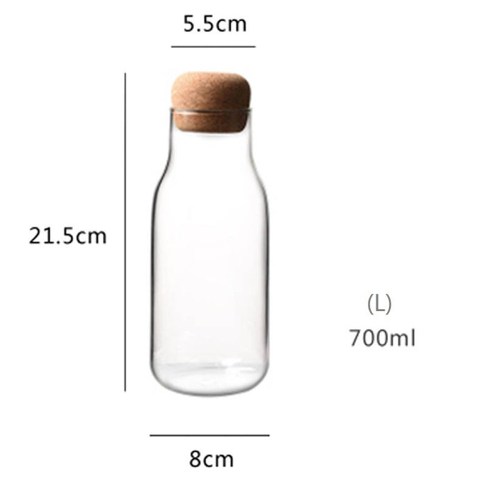 Cora Heat Resistant Glass Bottle with Cork (700ML) - Timeless Design
