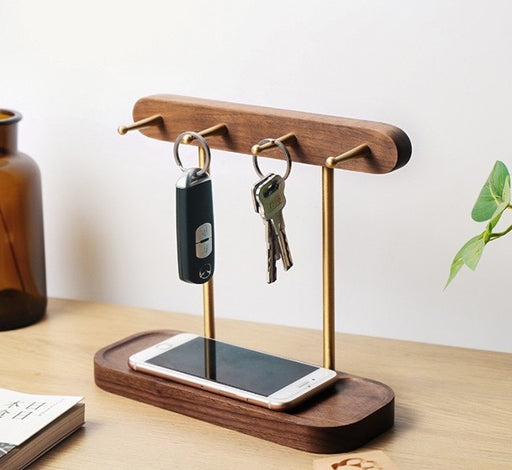 Ally Walnut Wood Key Storage Stand - Timeless Design