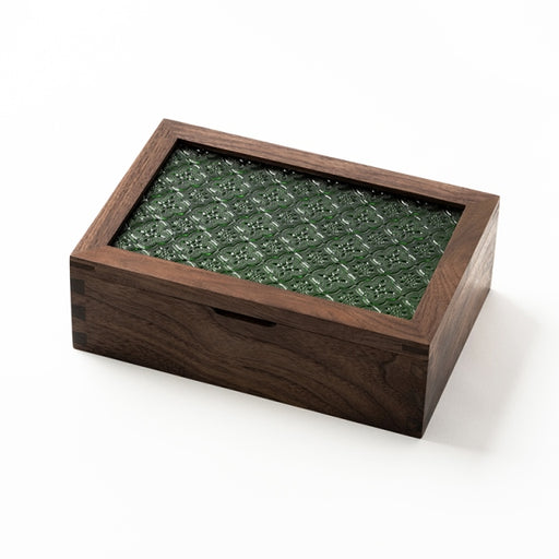 Naoki 1 Flip Embossed Green Glass Door Storage Box (S)