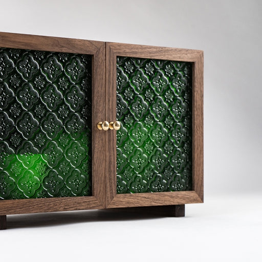Naoki 2 Embossed Green Glass Door Cabinet (L)